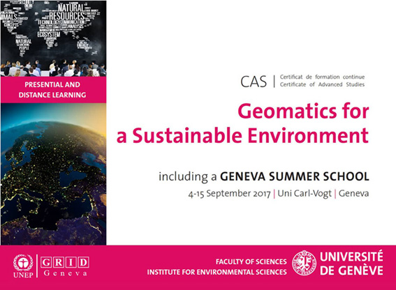 "New Certificate of Advanced Studies proposed by UNIGE ""Geomatics for a Sustainable Environment"""