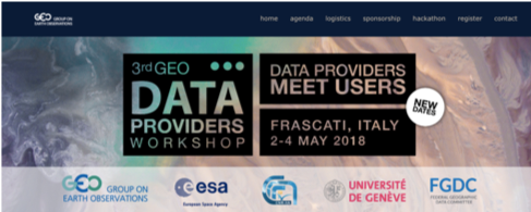 3rd Geo Data Providers Workshop 2-4 May 2018, Frascati, Italy